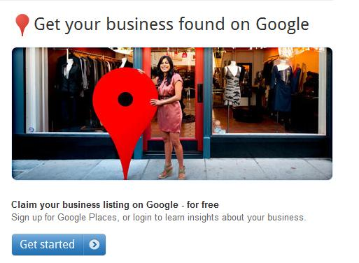Screenshot of Google Places Account set-up
