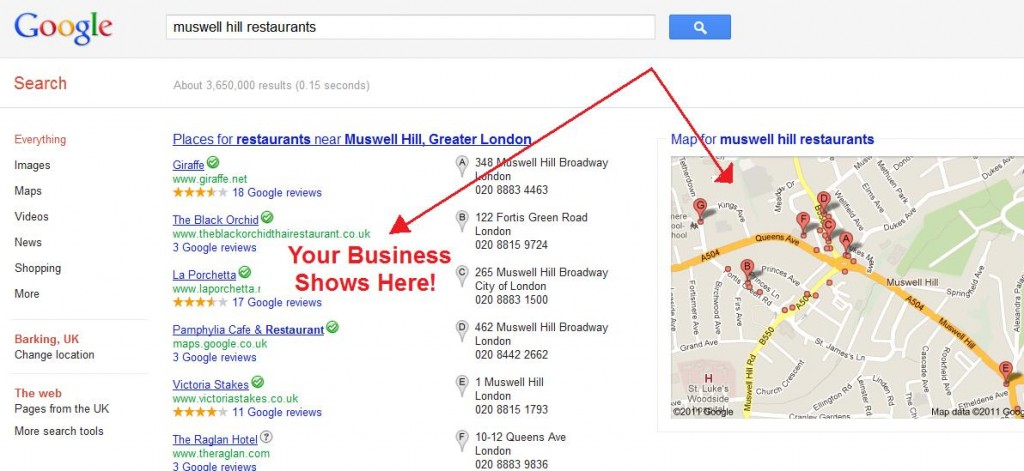 Screenshot showing Google Places ranking business listings