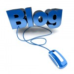 The word blog connected to a mouse, representing how to write a good blog