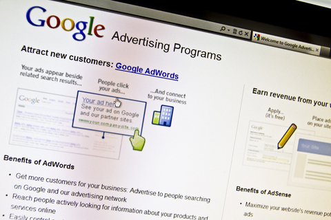 Screenshot of Google adwords PPC account set up section