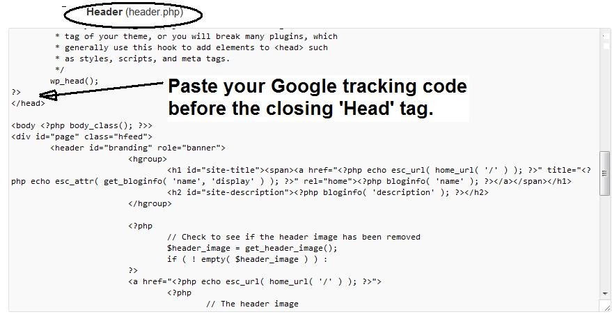 Screenshot on how to paste google tracking code on a webpage before the closing 'Head' tag