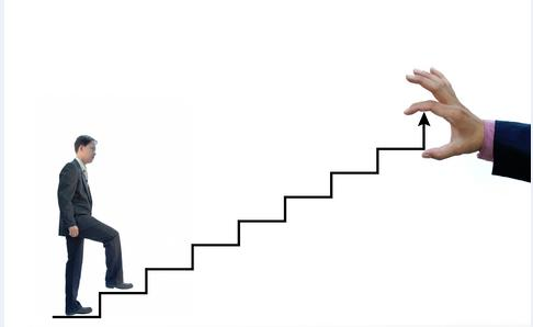 A man walking on stairs to demonstrate learning SEO in step-by-step