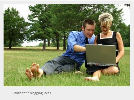 Man and a woman in a park creating a blog on a laptop