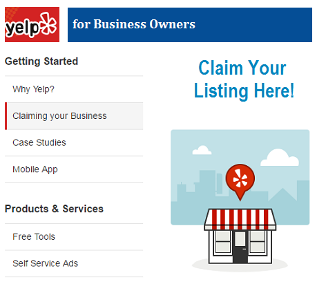 Claiming Yelp Business Listing Page