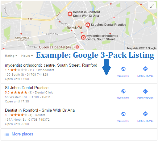 Example of Google Local SEO, 3-Pack Listing